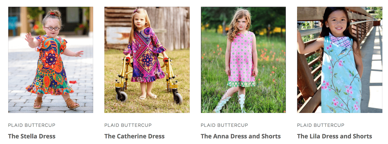 girls standing in dresses for Plaid Buttercup shopping page